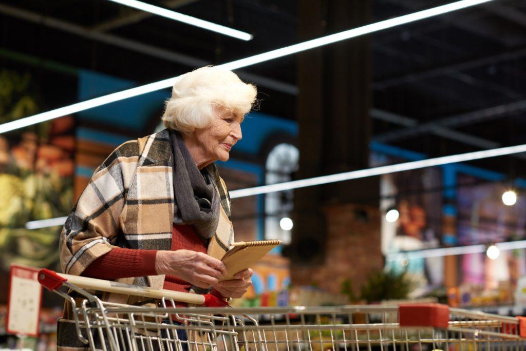 Elegant Senior Lady in Grocery Store